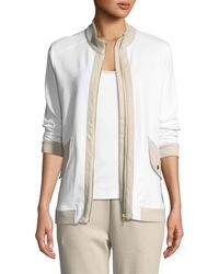 Joan Vass - Contrast-trim Zip-front Pique Jacket - Lyst