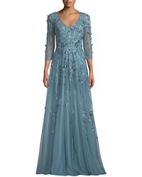 THEIA - Floral Tulle Applique V-neck Gown - Lyst