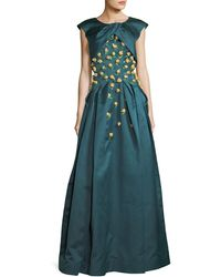 Zac Posen - Double-duchess Satin Corset-bodice Evening Gown W/ Floral Embroidery - Lyst