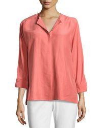 Eileen Fisher - Mandarin-collar 3/4-sleeve Doupioni Blouse - Lyst