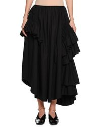 Jil Sander - Back-zip Long Full Cotton Poplin Skirt With Ruffles - Lyst