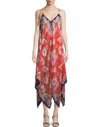 Tolani - Drew Strappy Floral-print Silk Handkerchief Dress - Lyst
