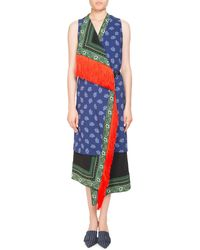 Altuzarra - Bina Sleeveless Mixed-print Faux-wrap Dress W/ Fringe Trim - Lyst