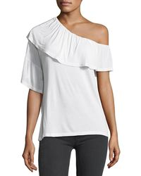 PAIGE - Pax One-shoulder Ruffle Jersey Top - Lyst