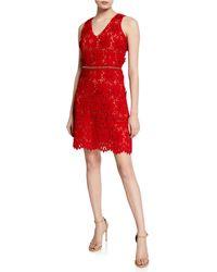 e5db83e15cbb1 MICHAEL Michael Kors - V-neck Sleeveless 3d Carnation Lace Mini Dress - Lyst