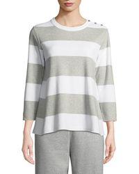 Joan Vass - Striped Pullover Top - Lyst