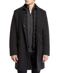 Andrew Marc - Men's Car Coat With Removable Puffer Bib - Lyst