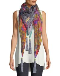 Etro - Paisley Silk-blend Scarf W/ Floral Embroidery - Lyst