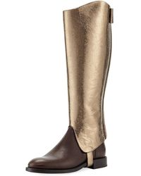 Brunello Cucinelli - Metallic Leather Riding Boot With Monili Detail - Lyst