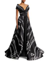Rubin Singer - Bateau-neck Scribble-print High-low Tulip Evening Gown - Lyst