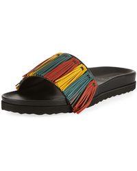 Buscemi - Multicolor Fringe Leather Slide Sandal - Lyst