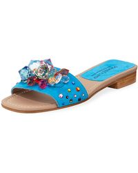 5c552836d48cb Donald J Pliner - Tropa Jeweled Flat Suede Slide Sandals - Lyst