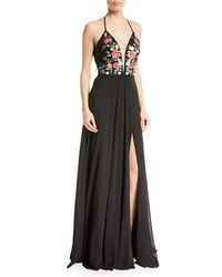 Faviana - Chiffon Floral-embroidered Lace-up Gown - Lyst