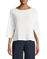 Eileen Fisher - Organic Linen Handkerchief-sleeve Top - Lyst