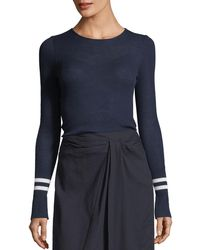 Vince - Ribbed Wool Sweater W/ Striped Cuffs - Lyst