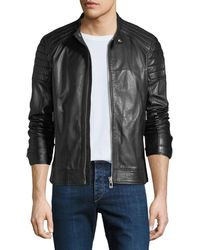 962110469e11 Moncler Bertrand Leather Jacket in Black for Men - Lyst