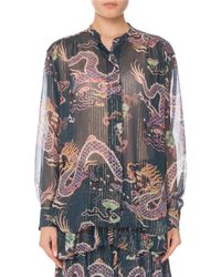 Isabel Marant - Long-sleeve Button-front Dragon-print Silk Blouse - Lyst