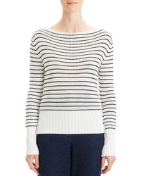 Theory - Ribbed Cuff Stripe Boat Neck Sweater - Lyst
