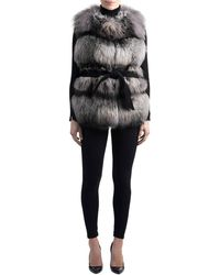 Gorski - Belted Fox-fur Vest With Cashmere Inserts - Lyst