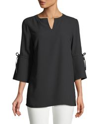 Misook - 3/4-sleeve Bow-cuff Top - Lyst