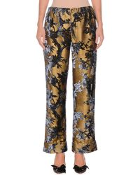 F.R.S For Restless Sleepers - Mid-rise Metallic Devore Foliage Applique Cuffed Pants - Lyst
