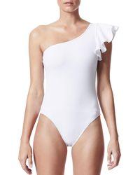 Carbon 38 - One-shoulder Ruffle One-piece Bodysuit - Lyst