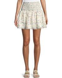 Lovers + Friends - Flounce Dot-print Smocked Mini Skirt - Lyst
