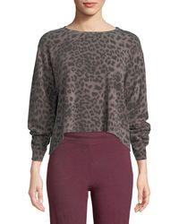 Sundry - Raw-edge Boxy Animal-print Pullover Sweater - Lyst