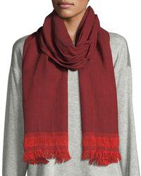 Eileen Fisher | Handloomed Chevron Cotton Fringe Scarf | Lyst