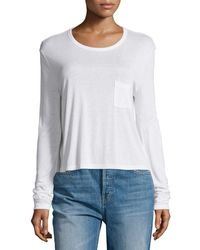 T By Alexander Wang - Classic Cropped Long-sleeve Tee - Lyst
