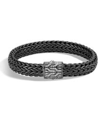 John Hardy - Men's Classic Chain Rhodium-plated Bracelet With Diamonds - Lyst