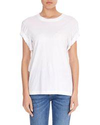 Victoria, Victoria Beckham - Crewneck Ruched-tie Short-sleeve Cotton T-shirt - Lyst