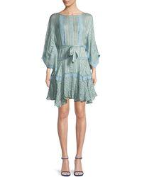 Zimmermann - Breeze Veil Tonal-striped Silk Short Dress - Lyst
