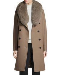Elie Tahari - Long Double-breasted Pea Coat W/ Fox Fur Collar - Lyst