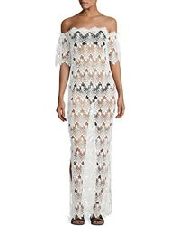 Queen & Pawn - Flora Scalloped Lace Off-the-shoulder Maxi Coverup Dress - Lyst
