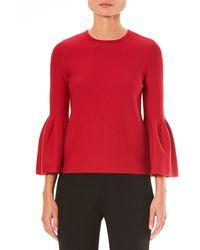 Carolina Herrera - Crewneck Bell-sleeve Knit Pullover Sweater - Lyst