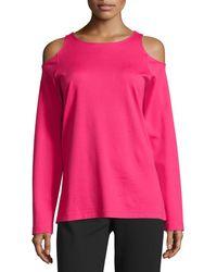 Joan Vass - Cold-shoulder Long-sleeve Top - Lyst