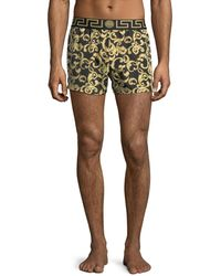 Versace - Barocco Net Short Swim Trunks - Lyst