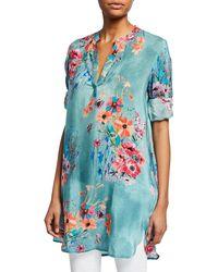 Tolani - Plus Size Skylar Floral-print V-neck Long-sleeve Tunic - Lyst