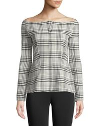 Theory | Off-the-shoulder Long-sleeve Brea Check Jacket | Lyst