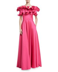 Badgley Mischka - Ruffle Off The Shoulder Evening Gown - Lyst