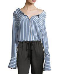 Robert Rodriguez - Striped Button-front Gathered-back Silk Satin Shirt - Lyst