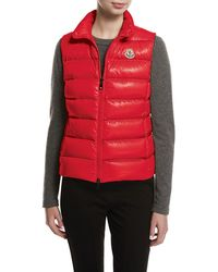 1734d493c035 Lyst - Moncler Ghany Shiny Quilted Puffer Vest in Blue