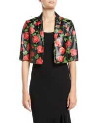 Michael Kors - Stemmed-roses Plonge Leather Bolero Jacket - Lyst