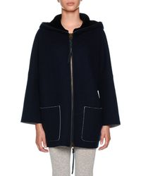 Agnona - Zip-front Cape Hoodie Jacket With Sheared Mink - Lyst