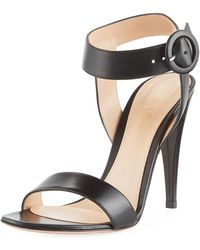 Gianvito Rossi - Smooth Leather Ankle-wrap Sandal - Lyst