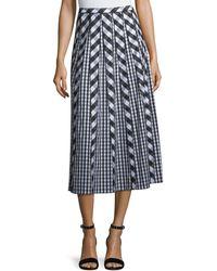 Lafayette 148 New York - Adalia Belmont Check Shirting Midi Skirt - Lyst