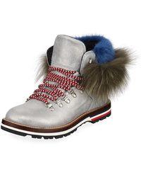 Moncler - Solange Metallic Fur-trim Boots - Lyst