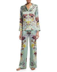 Meng - Floral-print Silk Long Pajama Set - Lyst