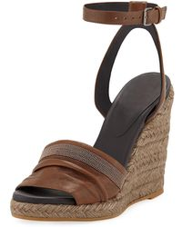 cf2c163ffa50 Brunello Cucinelli - Leather Wedge Espadrille Sandals With Monili Toe - Lyst